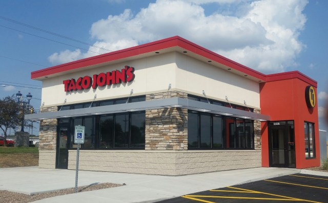 The exterior of a new Taco John's building