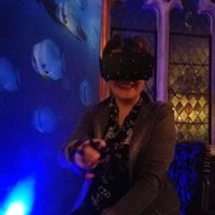 Girl with virtual reality headset