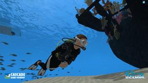 Diver in Infinite Scuba virtual reality.