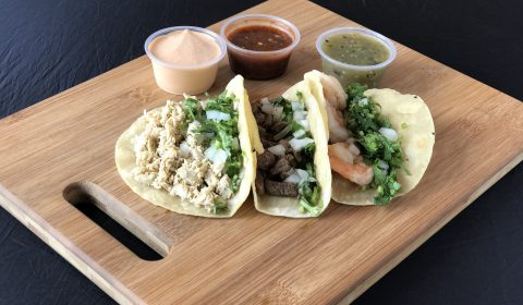 Shrimp Chicken and Steak Tacos