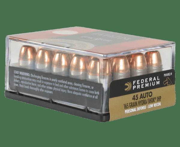 Federal Personal Defense Low Recoil Hydra-Shok Handgun Ammo .45 ACP 20-Rounds 165 Grain JHP