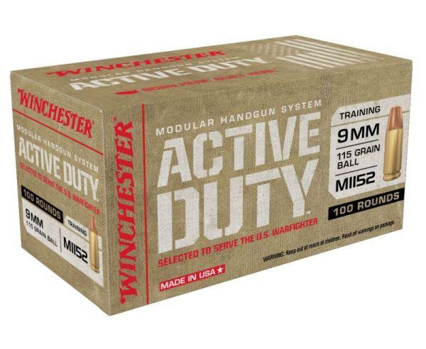 Winchester Ammunition Active Duty Handgun Ammo Brass 9mm 500-Rounds 115 Grain FMJ Flat Nose