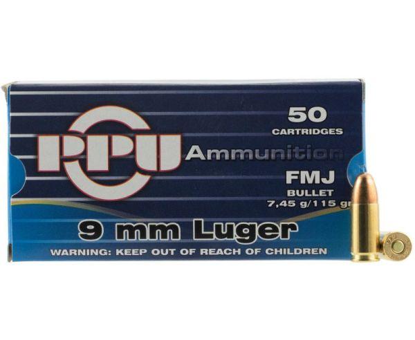 PPU Handgun 9mm Luger 115gr. FMJ Brass 9mm 50Rds