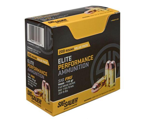 Sig Sauer Elite Ball FMJ 115 Grain Brass 9mm 200Rds