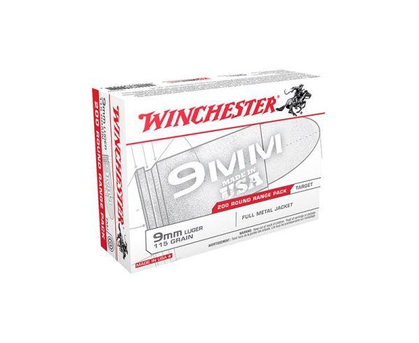 Winchester White Box Brass 9mm 200Rds 115 GR FMJ