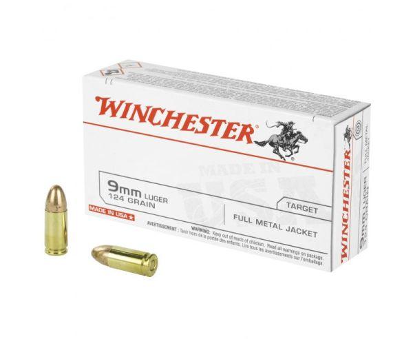 Winchester USA Ammo 9mm 50-Rounds 124 Grain FMJ