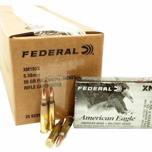223 5.56x45 Ammo 55gr FMJ Federal American Eagle (XM193X) 500 Round Case