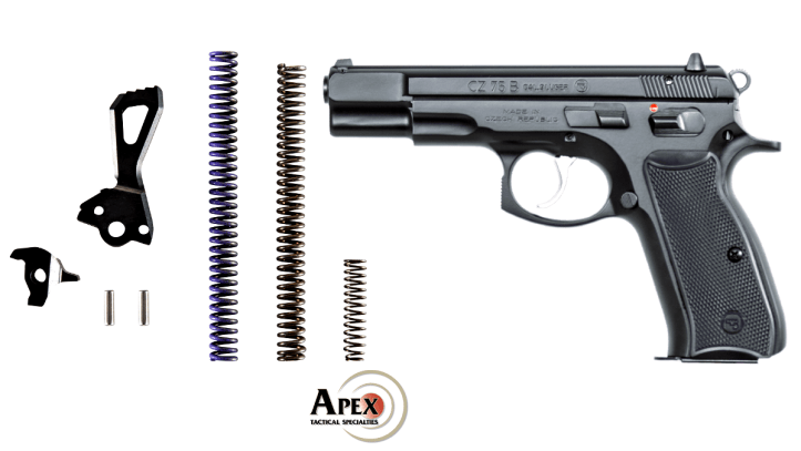 The Apex Action Enhancement Kit for the CZ 75 B series pistols is designed to improve performance and reduce the large difference in trigger pull weight that exists between the double-action first shot and the subsequent single-action shots to approximately 2 pounds.