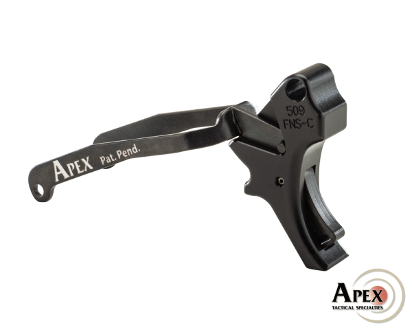 Apex adds curved trigger Action Enhancement Kit for the FN 509 series of pistols. Reduces trigger pull weight to around the 5.5 lbs range.