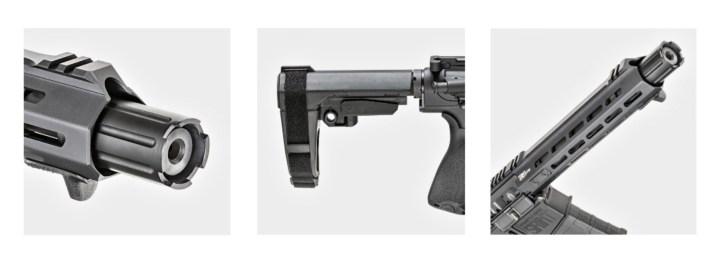 SAINT Victor .308 pistol features include a 2-Piece Blast Diverter, an SB Tactical SBA3 Brace, and a 10.3 inch CMV barrel.