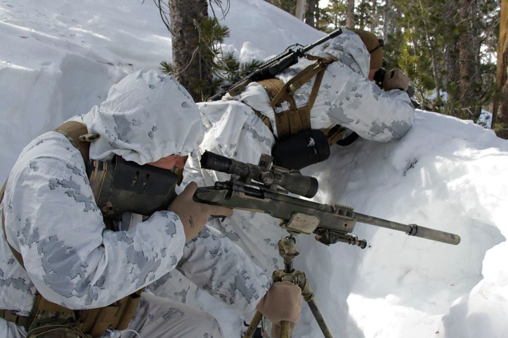 U.S. Marines wearing snow-patterned MARPAT overgarments at the Mountain Warfare Training Center (Photo: U.S. Marine Corps photo by Lance Corporal Sarah Anderson/Public Domain)