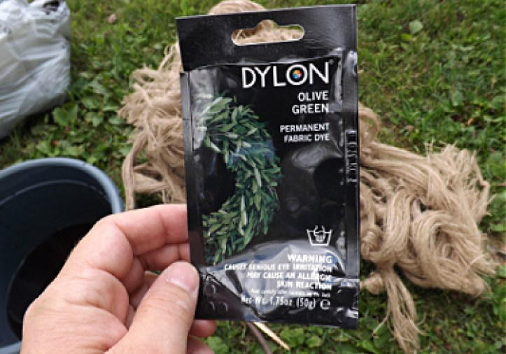 Dylon fabric dye, olive green - used to dye burlap for ghillie suit.
