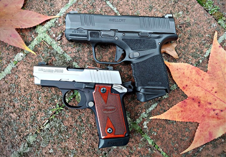 Springfield Hellcat 9mm pistol next to Sig P238 for size comparison.