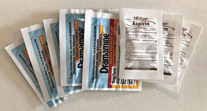 MyMedic MyFAK large, otc medications, Dramamine and Aspirin.