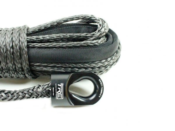 """3/8"""" Black Winch Rope & Safety Thimble"""