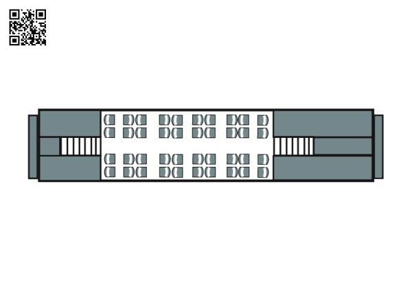 Vagon punte dublă interior – plan aerian al etajului superior
