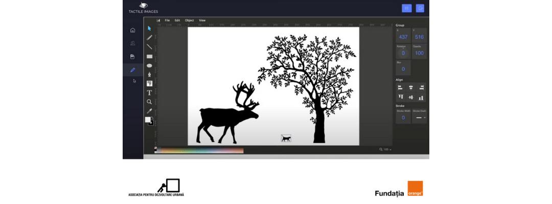 Desen cu copac și cerb