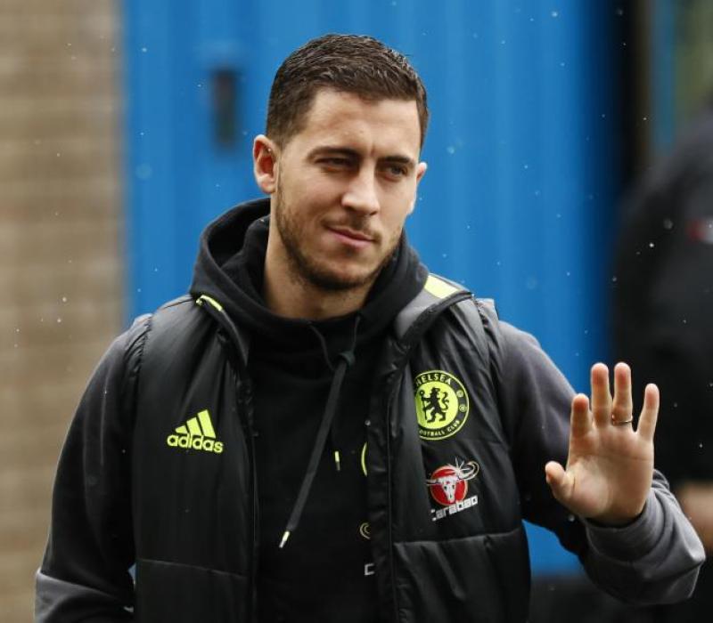 Eden Hazard in Chelsea jacket
