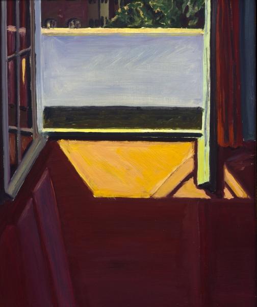 1966 08 01 Mauerstrasse Balkon Öl auf Spiegel 60x49 1