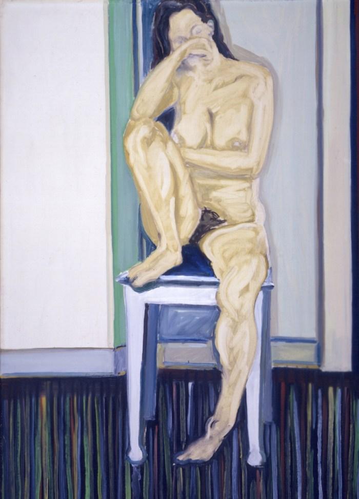 1967 01 01 Akt auf Stuhl Öl auf Leinwand 93x65 cm
