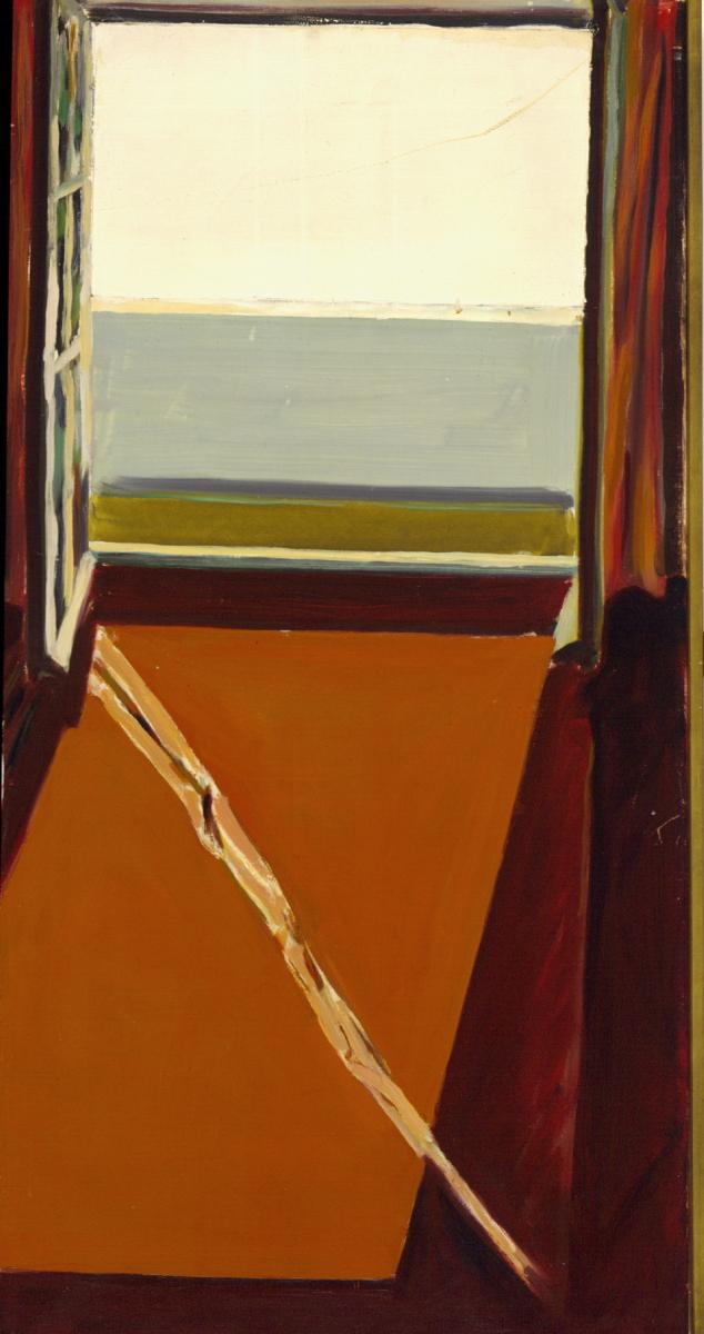 1967 04 02 Fenster mit Strahl Öl auf Leinwand 83x42 cm