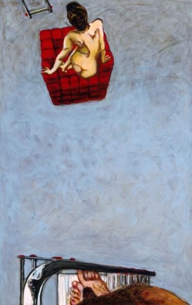 2002 08 03.Roter Sessel hellblau. Acryl auf Leinwand160x100cm