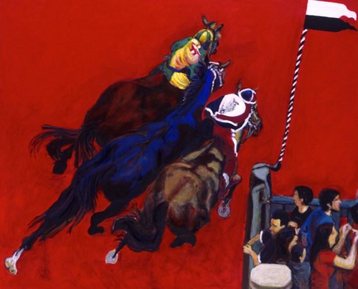 2008 13 01 Kurve rot Acryl auf Leinwand 190x230 cm