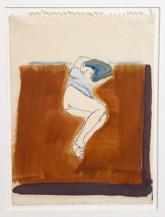 1966 08 02 o.T. Bett Frau mit Bluse Kreide und Aquarell auf Papier 22x165 2