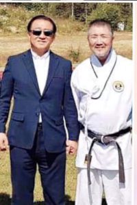 Evje 2019. Stormester Cho 9dan med sin mester. President Seung wan Lee 10dan Jidokwan/Kukkiwon.