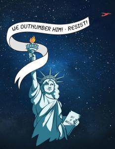 "Lady liberty looks up at a red plane pulling a banner that reads ""We Outnumber Him! Resist!"""