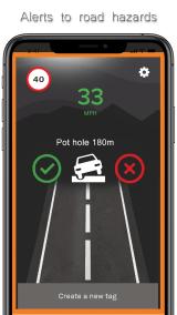 TagAcam pothole alert