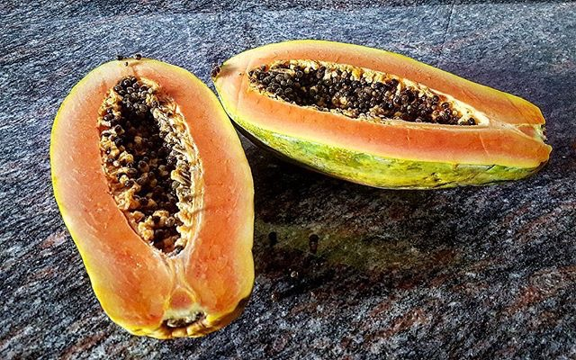 Papaya Sliced Open