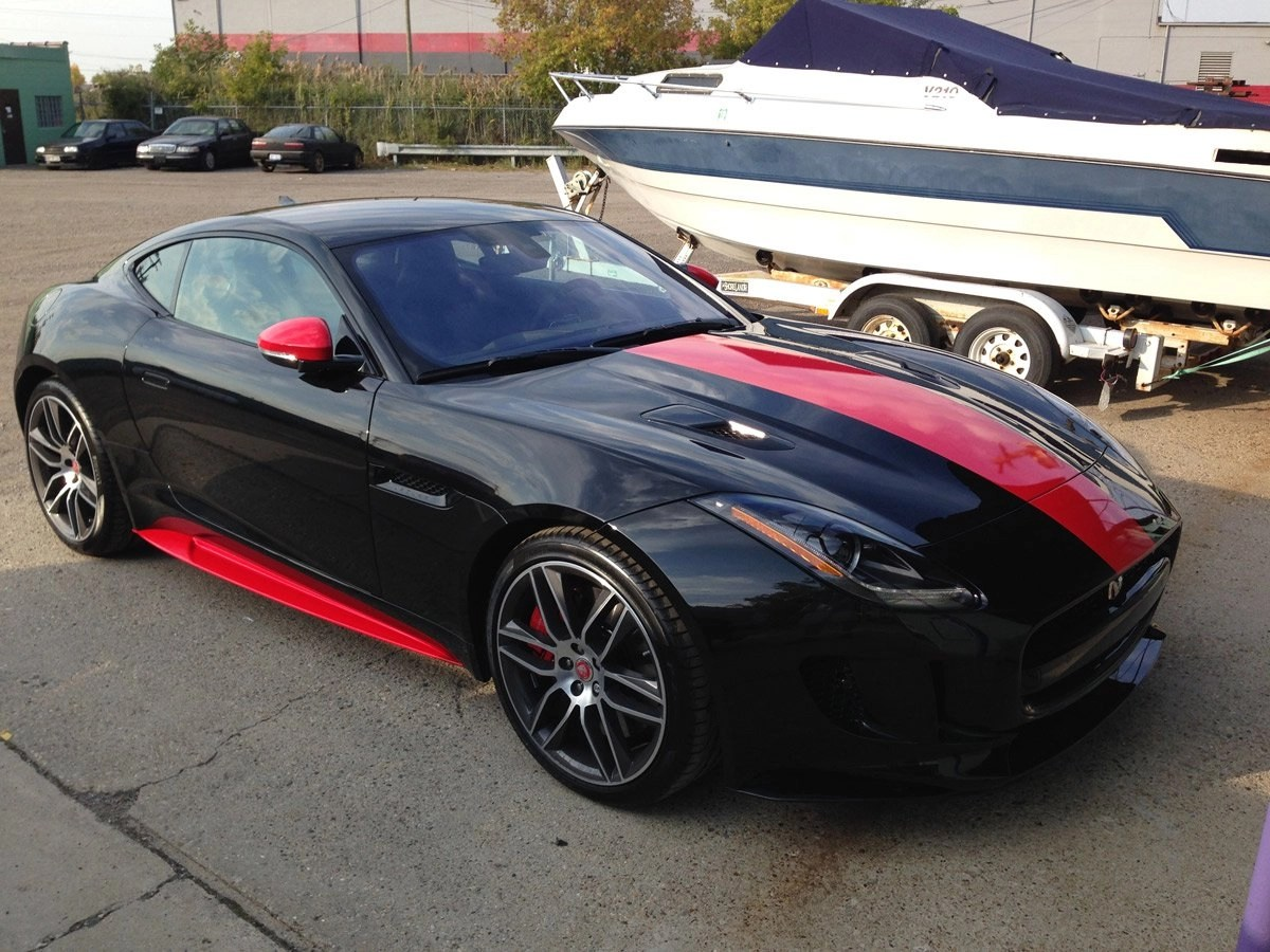Automotive Window Tinting - black and red