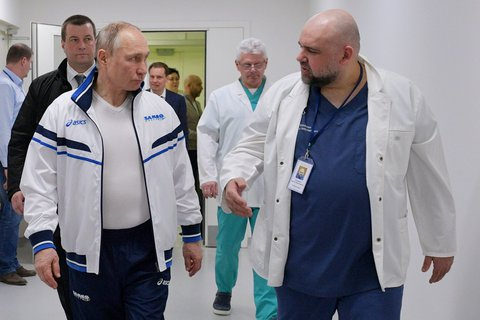On the road to crisis: The coronavirus pandemic also challenges Russian President Vladimir Putin (left).