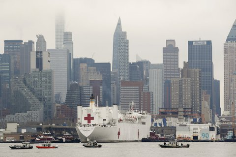 Rescue anchor: A Navy hospital ship has docked in New York Harbor.