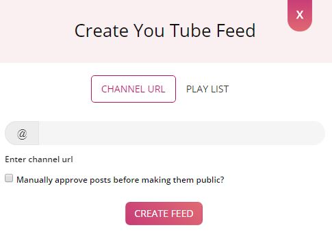 Create youtube Feeds