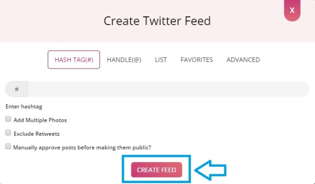 Create twitter feed button