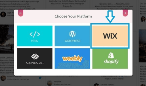 Generate embed code for wix