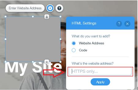 Enter Website on Wix