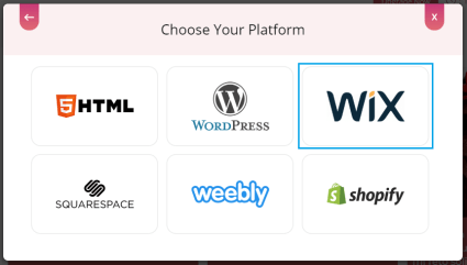 Choose embed platform Wix