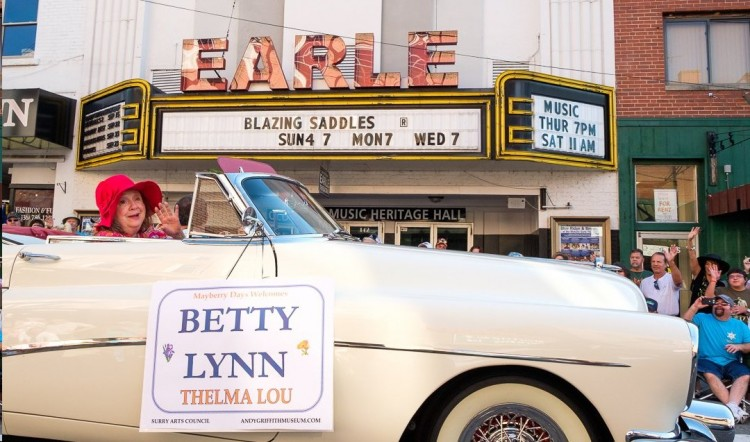Betty Lynn leading the Mayberry Days parade. Photo by Hobart Jones.