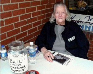 "Maxine ""Big Maude"" Baird at Mayberry Days.  (Note the clever ""Bail ""jar she used for ""donations"" for a signed photo.) Photo courtesy of Mayberry chapter."