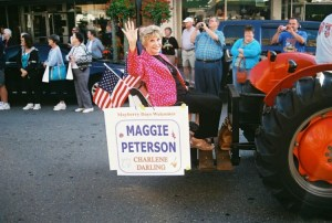 Riding in Darlings style in Mayberry Days parade.