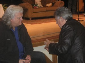 Rodney Dillard (right) visits with fellow bluegrass legend Ricky Skaggs following a performance of  the Mayberry Christmas show in Mt. Juliet, Tenn.