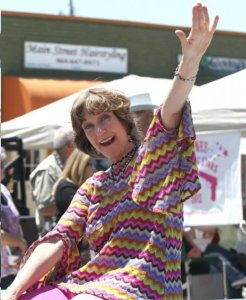 Karen Knotts makes wave in the parade at Mayberry Comes to Westminster.
