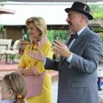 Tammy and Jeff Branch (as Millie and Howard) observe the trivia contest during this summer's meeting/cookout in Laurinburg.