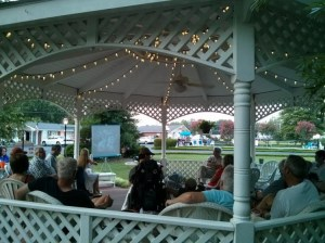 "Fans gathered in the gazebo at the Mayberry Motor Inn in Mount Airy for fellowship and a screening of ""A Feud Is a Feud"" during the Mayberry Meet-Up in July. Photo by Allan Newsome."