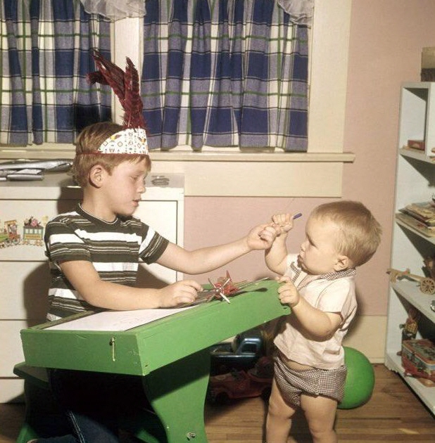 CHIEF CONCERN--Ron tweeted this 1961 photo of himself at his drawing table as he was coming to grips with brave brother Clint, who apparently wanted to practice his own quick-draw. Follow Ron on Twitter at @RealRonHoward. It's always fun to keep up with what he has been up to...today and 53 years ago!