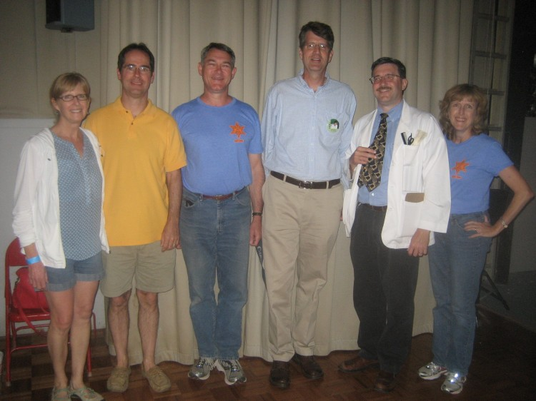 FOUNDERS DAY--Though they've been together at times in twos, three of TAGSRWC four founders were all together again for the first time since 1982 during September's Mayberry Days. Brook Alexander (third from left is flanked by Dan Auter (yellow shirt) and Jim Clark.  At far left is Julie Auter (officially the first woman member of TAGSRWC, which was a big milestone for a group started by four Goobers at a fraternity).  At far right is Jana Alexander (Brook's wife).  And completing the photo is TAGSRWC barber and webmaster Allan Newsome.
