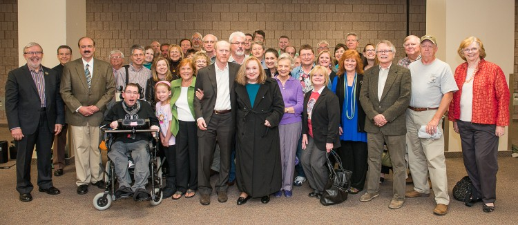 AND SPEAKING OF BIG--TAGSRWC chapters and members from seven states turned out for Ron Howard's lecture in Greensboro, N.C., home of Barney chapter,  on October 23. Ron is front and center with Betty Lynn.  At far left is legendary film critic Leonard Maltin, who moderated Ron's talk.  Ron graciously spent time visiting with our thrilled group of about 40 fans before the photo was taken, and both he and Betty visited afterward as well.  And before the lecture, Barney chapter hosted many of the group for hearty eatin' at a local checkered-tablecloth restaurant. A night to remember indeed!  Photo by Hobart Jones.